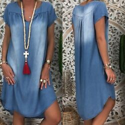 Plus Size Ladies Short Sleeve Summer Loose Denim Midi Dress Women Jeans Dresses $14.99