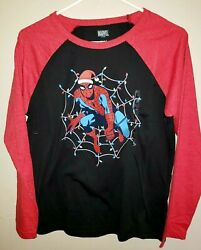 boys CHRISTMAS SPIDERMAN NEW NWT TEE SHIRT long sleeve large lights on web