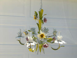 Vintage Mid Century 5 Arm TOLE Chandelier Purple White Yellow Flowers $200.00
