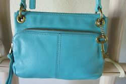FOSSIL ISSUE NO. 54 S TURQUOISE LEATHER SLIM MESSENGER CROSS-BODY