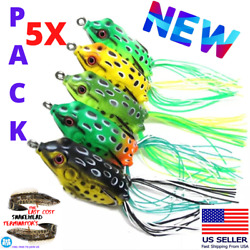 5x High Quality Fishing Lures Frog Topwater Crankbait Hooks Bass Bait Tackle NEW $13.97