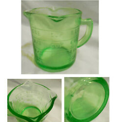 New Green Glass 1 Cup Embossed Measuring Cup 3 Spouts $13.00