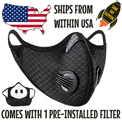 Reusable Outdoor Face Mask w Valves & 5-Layer Filter - Breathable & Washable $9.97