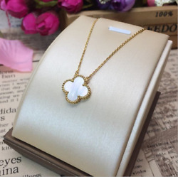 925 Sterling Silver Double Sides Pearl Shell Clover Flower Pendant Necklace Box $16.95