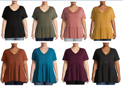 Terra amp; Sky Women#x27;s Plus Size Short Sleeve Babydoll T Shirt And Henley Top $10.69