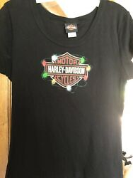 Harley Davidson Ladies Holiday Shirt Size Large Lights on Logo