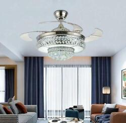 42quot; Silver Retractable LED Ceiling Fan Light Remote Control Crystal Chandelier $174.79