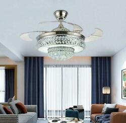 42quot; Silver Retractable LED Ceiling Fan Light Remote Control Crystal Chandelier $170.99