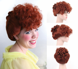 50S LUCILLE BALL OF I LOVE LUCY COSTUME WIG FOX RED VICTORIAN GIBSON CURLY UPDO $22.95