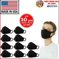10PCS WASHABLE COTTON FACE MASK REUSABLE BLACK MADE IN USA 3510 PCS IN 1 PACK