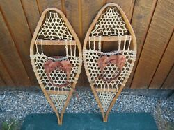 GREAT VINTAGE Snowshoes 36quot; Long x 14quot; Wide with Leather Binding Ready to Use $59.95