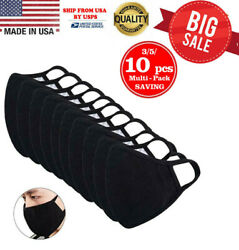 Washable 100% Cotton Face Mask Reusable Black - 10 Pcs in 1 Pack MADE IN USA $16.88