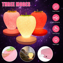 Cute Strawberry Lamp LED Atmosphere Bedside Reading Night Light USB Rechargeable $16.97