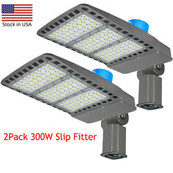 2PCS 300W LED Parking Lot Light Street Pole Lighting Outdoor Commercial Lights