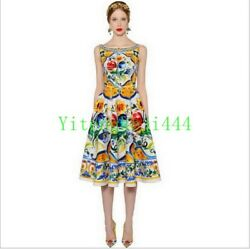 Runway Women Elegant Dress Designer Dresses Luxury Printed Summer Party Vestidos