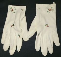 girls women SMALL VINTAGE GLOVES white ivory tiny flowers embroidery 7 inch long $12.95