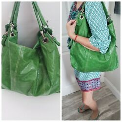 New $695 Gianni Chiarini Barneys Palm Beach Lilly Green Leather Large Purse Bag  $108.99