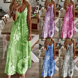 Women Sleeveless Bohemia Long Maxi Dress Beach Party Sundress Plus Size $12.50