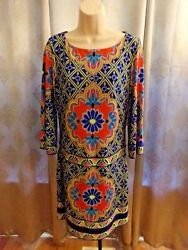 LAUNDRY BY SHELLI SEGAL MULTI ISLAND PRINT 3 4 SLEEVE LINED DRESS XS NWT $138 $34.99