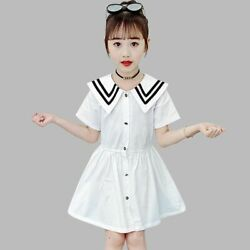 New Sundress Sailor Collar Kids Party Dresses For Girls Patchwork Casual Costume $11.80