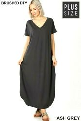ZENANA PLUS V NECK WITH SIDE SLITS AND POCKETS MAXI DRESS $26.95