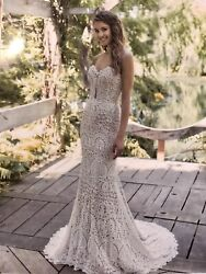Lillian West Size 8 Nude Ivory Beach Wedding Dress In Broderie Anglaise Lace. $1,079.41