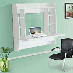 Wall Mount Floating Computer Desk Student Workstation PC Stand with Shelves $87.99