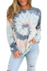 Boutique Top Ombre Tie Dye Casual All Seasons Long Sleeve Tee NEW SZ SMLXL2X $26.97