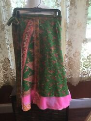 Double Layer Wrap Skirt Made In India Pink Green Paisley Boho Hippie Beach $12.99