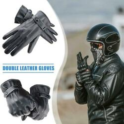 Leather Winter Motorcycle Riding Fleece Gloves Touch Screen Men Thickened Gloves $7.79
