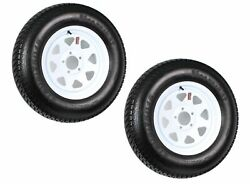 2-Pk Trailer Tire On Rim ST20575D15 F78 20575 LRC 5 Lug White Spoke Wheel $128.95