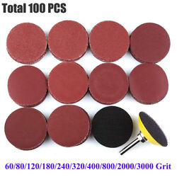 100PC 2 Inch Sanding Discs with M6 Backer Plate PSA Sandpaper Hook and Loop Pads $8.99