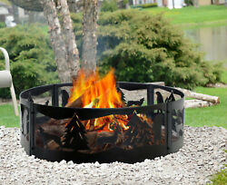 Large Rustic Fire Ring Pit Steel Wilderness Outdoor Camping Backyard Bonfire NEW $55.99