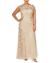 Alex Evenings Womens Dress Beige Size 14W Plus Embroidered Floral Gown $200 184 $44.99