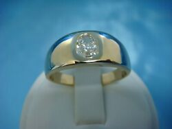 14K YELLOW GOLD GYPSY RING WITH 0.50 CARAT OVAL DIAMOND SOLID BACK 8.2 GRAMS SIZ $1,400.00