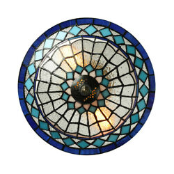 Tiffany Vintage 2 Light Ceiling Lamp Stained Glass Chandelier Lighting Fixture $84.99