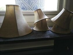 Tan Bell Faux Leather Lamp Shades Great Condition $9.95