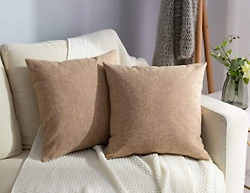 Stellhome Linen Throw Pillow Covers Square Solid Burlap Cushion Covers for Bed x $21.01