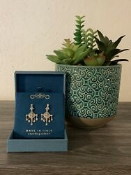 Intricately Detailed Pave Chandelier Earrings Sterling Silver Excellent Cond. $25.00