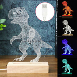 Dinosaur 3D LED Night Light Touch Remote Table Desk Illusion Lamp For Kids Gifts $9.99