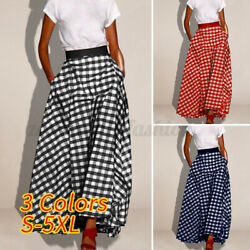 Womens Skirts Plaid Check Casual Dresses Holiday Elastic Waist Maxi Skirts Baggy $15.43