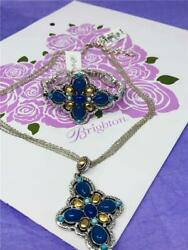 Brighton NADIA Blue Cross Silver Necklace and Bracelet   New With Tag     2 pcs $74.70