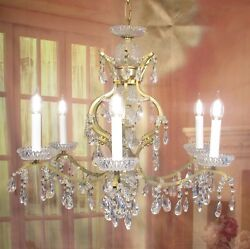 Antique Vintage Chandelier 6 Light French Style Gold Crystal Unique $475.00