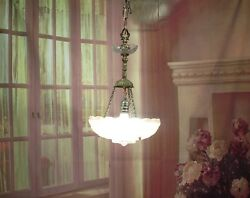 Antique Vintage Chandelier Art Deco Glass Shade Pink Pendant Light Rewired $225.00