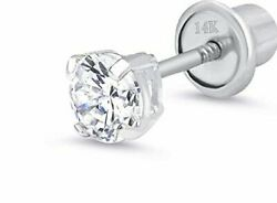2 mm Round Diamond Tiny Stud Screw back Earring in14k White gold Gift box $39.95