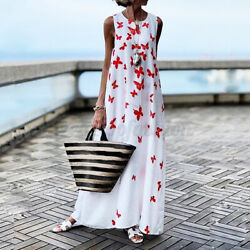 Womens Summer Sleeveless Party Cocktail Dresses Loose Casual Long Dress Sundress $17.38