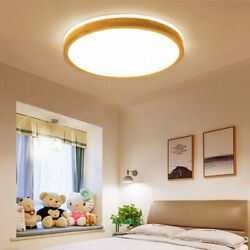 LED Dimmable Ceiling Light Lamp Flush Mount Wooden Round Fixtures Modern 19 inch $81.87