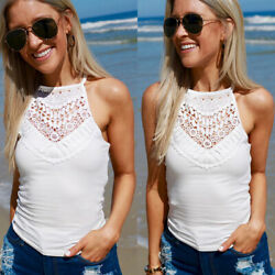 Womens Sleeveless Lace Boho Cami Blouse Tee Shirts Ladies Beach Party Vest Tops $8.73