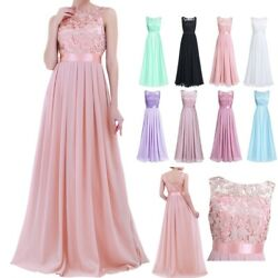 Women#x27;s Chiffon Long Bridesmaid Dresses Cocktail Wedding Evening Prom Ball Gown