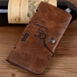 Men#x27;s Leather Wallet Bifold ID Card Holder Checkbook Long Clutch Billfold Purse $10.98